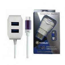 CARGADOR KOSMO 4.2A + 2 USB KS-18 MICRO USB